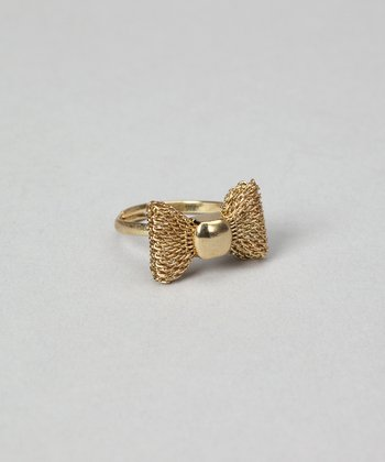 Gold Bow Adjustable Ring