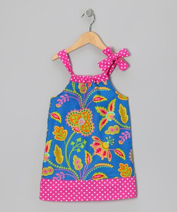 Ocean Floral Damask Hailey Swing Dress - Toddler & Girls