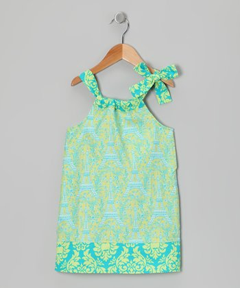 Blue Eiffel Tower Hailey Swing Dress - Toddler & Girls