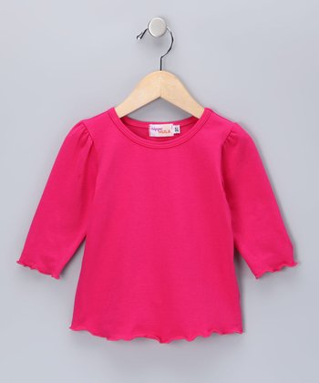 Magenta Lettuce-Edge Tee - Infant, Toddler & Girls