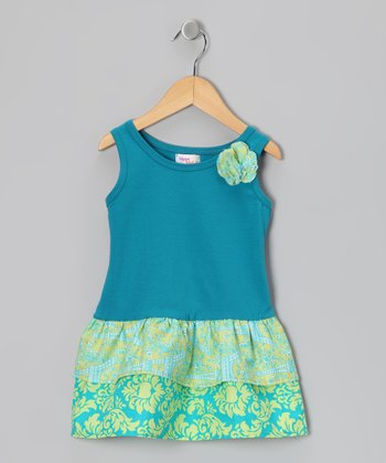 Aqua & Lime Eiffel Tower Amy Dress - Toddler