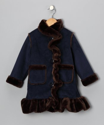 Hippototamuss Blue & Brown Ruffle Coat - Toddler