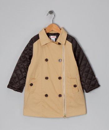 New York-Designed Tan Quilted Trench Coat - Toddler & Girls