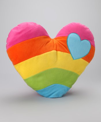 Pink Rainbow Heart Plush Pillow