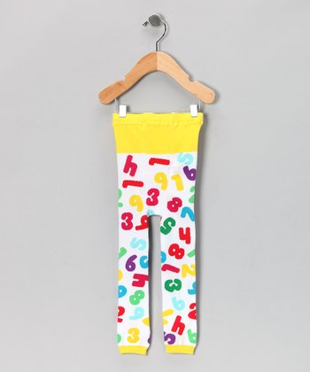 White & Yellow Numbers Leggings - Infant