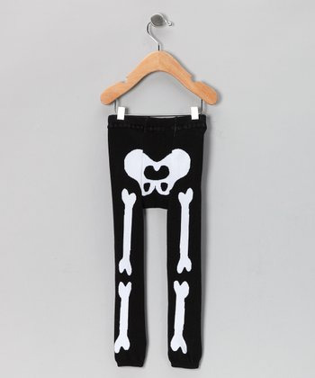 Black & White Bone Leggings - Infant