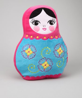 Pink & Blue Russian Doll Pillow