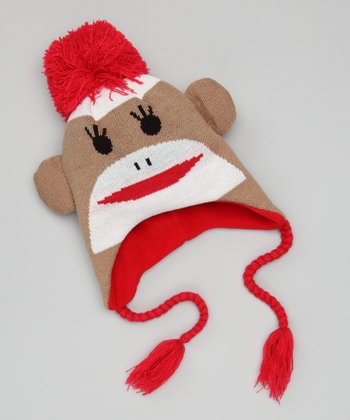 Brown & White Sock Monkey Earflap Beanie