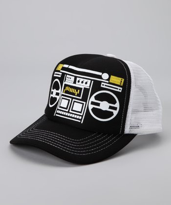 Black & White Boombox Mesh Cap Trucker Hat