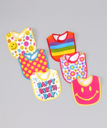 Hollywood Mirror Pink & Yellow 'Happy Birthday' Bib Set