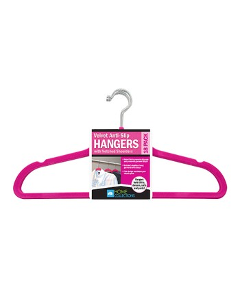 Hot Pink Velvet Hanger - Set of 18