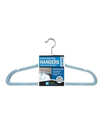 Light Blue Velvet Hanger - Set of 18