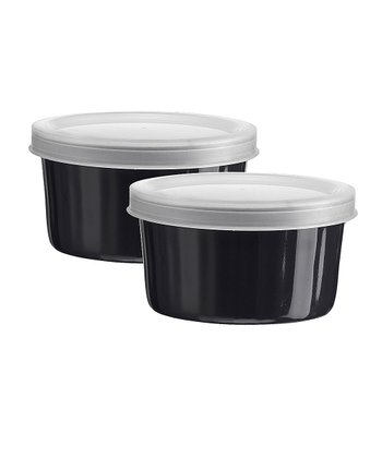 Large Black Covered Ramekin - Set of Two