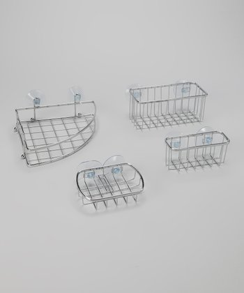 Chrome Basket 4-Piece Bathroom Set