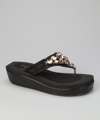 Black Panda Wedge Flip-Flop