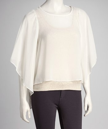 Ivory Sheer Drape Sleeve Top