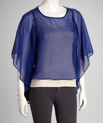 Royal Sheer Drape Sleeve Top