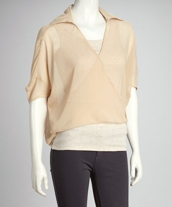 Beige Sheer Surplice Drape Top