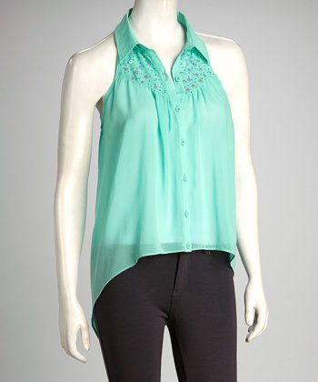 Mint Sleeveless Hi-Low Button-Up Top