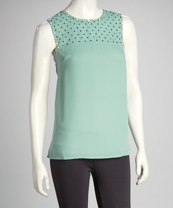 Mint Polka Dot Swing Top