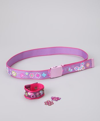 Pink Butterfly Bling Belt & Wristband