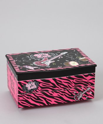 Hot Pink Zebra Magical Twinkling Lights Jewelry Box