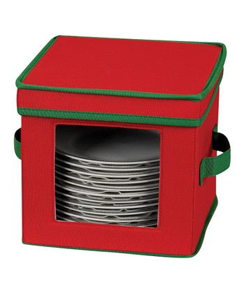 Household Red & Green Salad Plate/Bowl Storage Chest