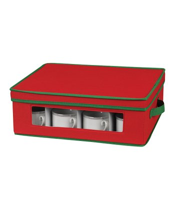 Household Red & Green Cup Storage Chest