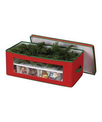Household Red & Green 36-Pocket Ornament Storage Chest
