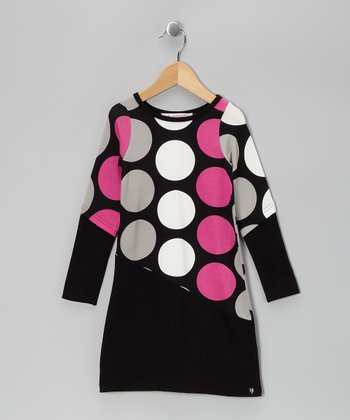 Black & Pink Polka Dot Kris Dress - Girls
