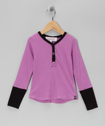 Purple & Black Lilah Henley - Girls