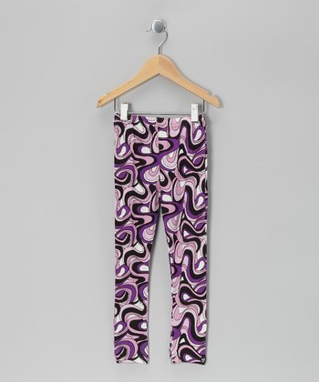 Purple & Black Pucci Blair Leggings - Girls