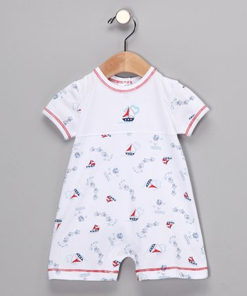 White & Blue Sailboat Romper - Infant