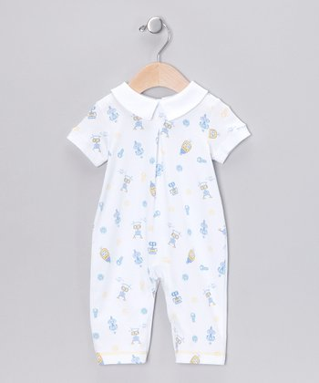 White Happy Robot Playsuit - Infant