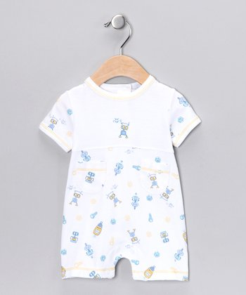 White Happy Robot Romper - Infant