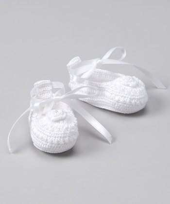 White Rosette Crocheted Bootie