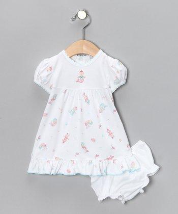 White Mermaid Puff-Sleeve Dress & Bloomers - Infant