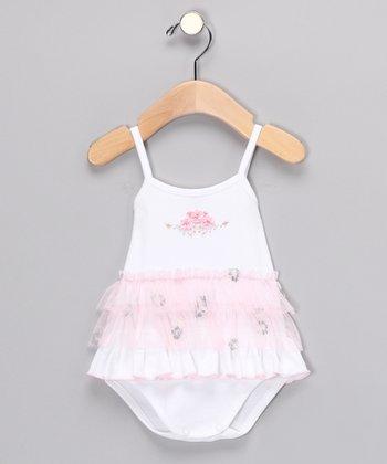 White Roxanna Ruffle Bodysuit - Infant