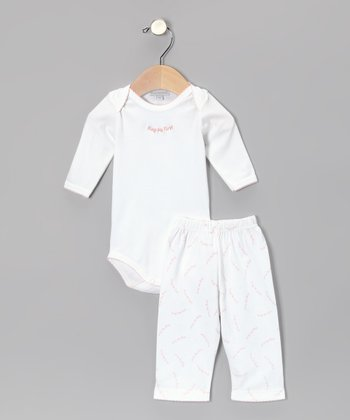 White & Pink 'Hug Me First' Bodysuit & Pants - Infant