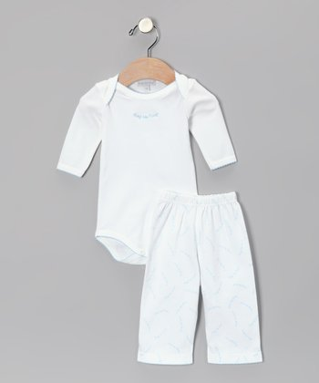 White & Blue 'Hug Me First' Bodysuit & Pants - Infant