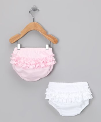 White & Pink Ruffle Diaper Cover Set - Infant