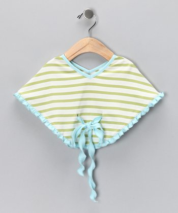 Mint Stripe Poncho - Infant & Toddler
