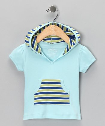 Blue Stripe Short-Sleeve Hoodie - Infant & Toddler