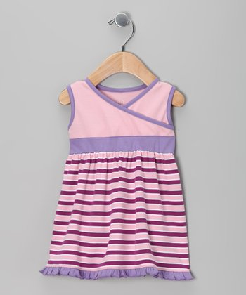 Purple & Wine Stripe Dress - Infant