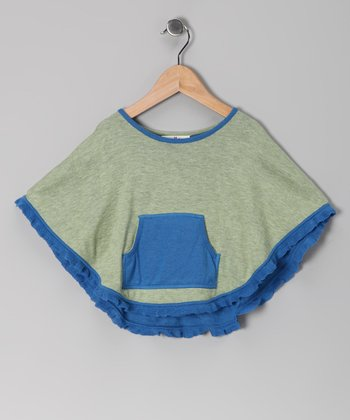 Blue & Green Knit Poncho - Infant & Toddler