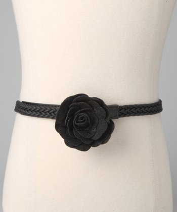 Black Flower Braided Belt