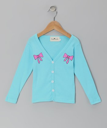 Turquoise Bow Cardigan - Toddler & Girls