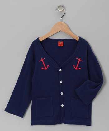 Navy Anchor Cardigan - Toddler & Girls