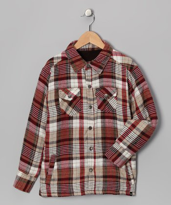 Natural Brown Plaid Flannel Button-Up - Boys