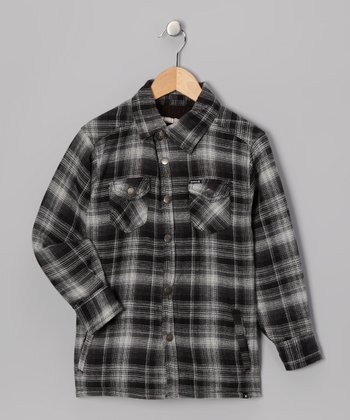 Black Plaid Flannel Button-Up - Boys